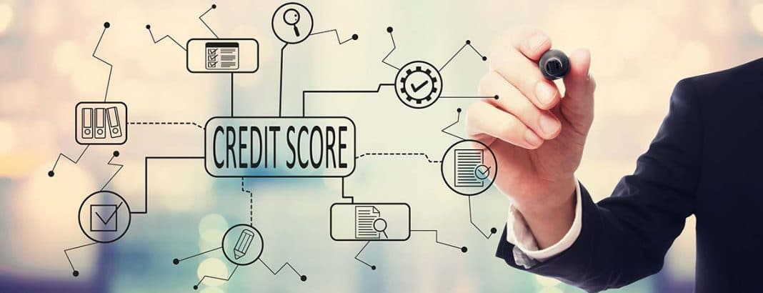 A person is showing the correlations of the credit score